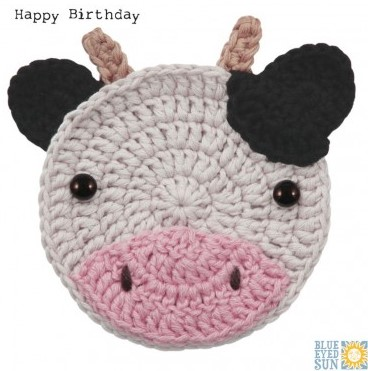 Edie the Cow - Happy Birthday - crochet critters greeting card