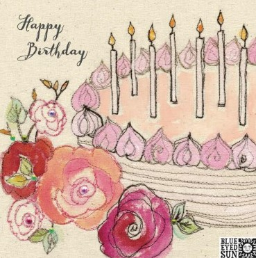 Happy Birthday cake & candles - broderie greeting card