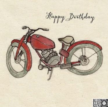 Happy Birthday motorbike - broderie greeting card