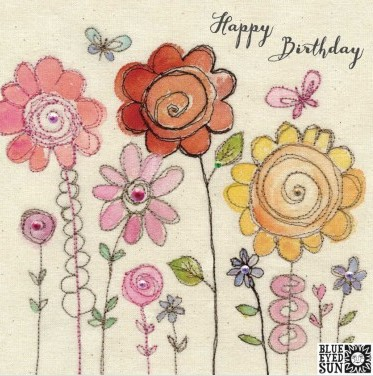 Happy Birthday flowers - broderie greeting card