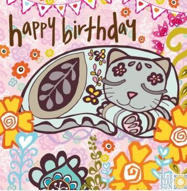happy birthday - sleeping cat - Marimba greeting card