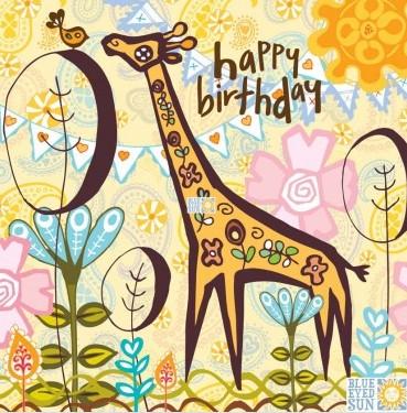 happy birthday - giraffe - Marimba greeting card