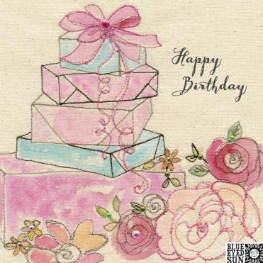 Happy Birthday presents - broderie greeting card