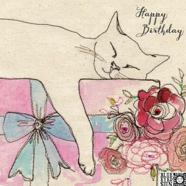 Happy Birthday sleeping cat - broderie greeting card