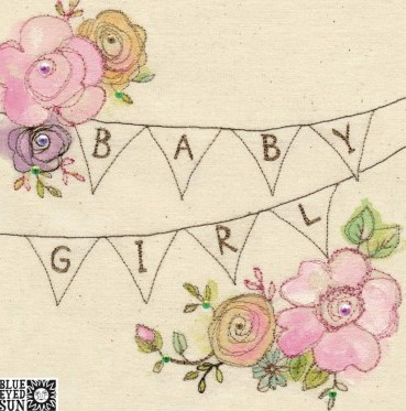 Baby Girl - broderie greeting card