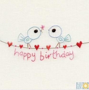 Happy birthday - birds - pincushion greeting card