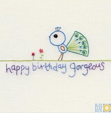 happy birthday gorgeous - pincushion greeting card
